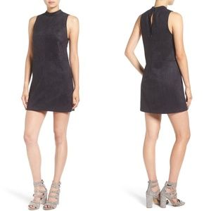 ASTR Faux Suede Mock High Neck Dress Black Small